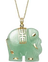 Amazon gemstones jade jewelry men clothing shoes jewelry 14k yellow gold unisex natural green jade elephant charm pendant necklace 18 aloadofball Image collections