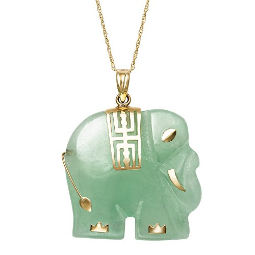 14k Yellow Gold Unisex Natural Green Jade Elephant Charm Pendant Chain Necklace,18