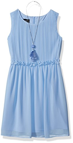 (Amy Byer Girls' Big' Her Her Fave Dress with Pleated Bodice and Necklace, sea Slate, 16)