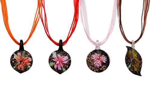 Bundle Monster Colorful Assorted Glass Murano Floral Pendant Necklace 8pc Set, 18