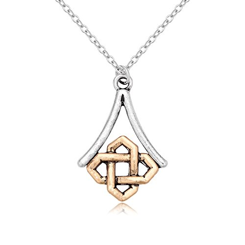 RUXIANG Double Color Simple Good Luck Chinese Knot Cross Square Pendant Necklaces Jewelry (silver) ()