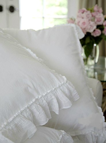 Shabby Chic Ruffled Duvet Comforter Quilt Cover 3pc Set Full/Queen 100% Cotton French Style Frilled Duvet Cover White (Queen)