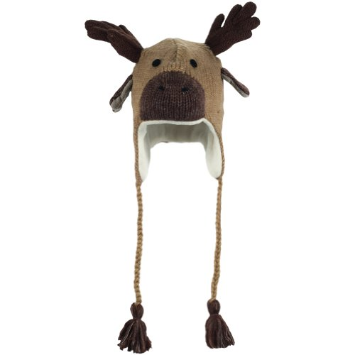 DeLux Moose Face Wool Pilot Animal Cap/Hat with Ear Flaps and Poms,Brown,One Size(S) -