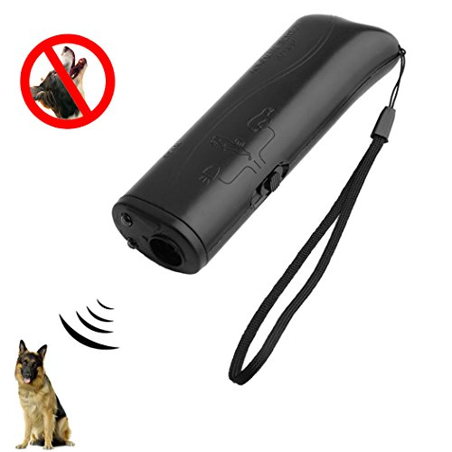 LibbyPet Ultrasonic Dog Repeller Durable Dog Trainer Device 3 in 1 Anti Barking Stop Bark Handheld (Black) (Ultrasonic Bark Stop)