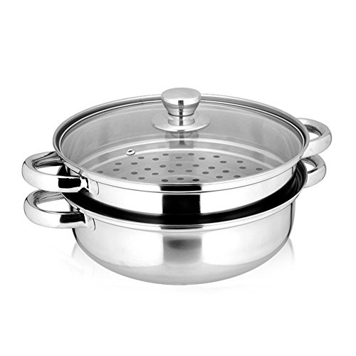 Yamde 2 Piece Stainless Steel Stack and Steam Pot Set - and Lid,Steamer Saucepot double boiler (Steamer Stainless)
