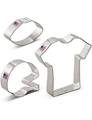 Ann Clark Football Cookie Cutter Set - 3 Piece - Football, Football Helmet, and T-Shirt - Tin Plated Steel