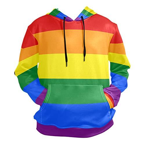 Gay Pride Rainbow Casual Wear for Men Hoodie Pullover Sweatshirt Casual Thin Tee Top Size XL