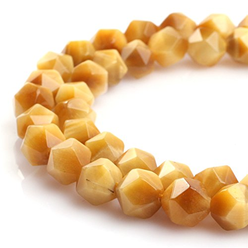 JOE FOREMAN 10mm Tiger Eye Semi Precious Gemstone Faceted Gold Loose Beads for Jewelry Making DIY Handmade Craft Supplies 15