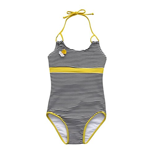 Boomboom Baby Swimsuits, Kids Girls Infant Striped Flower Backless One Piece Swimsuit (18M, Yellow)