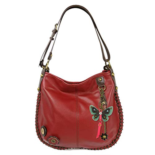 Butterfly with Charm Crossbody Hobo Teal Burgundy Shoulder Convertible Handbag Tote Large Chala OtzWw0fvqq