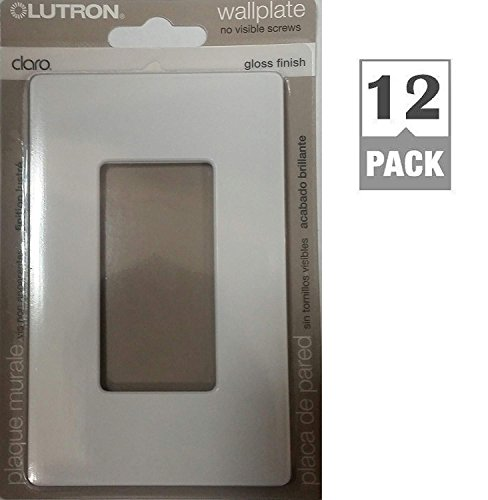 Lutron CW-1-WH 1-Gang Claro Wall Plate, White (12 Pack) by Lutron (Image #1)