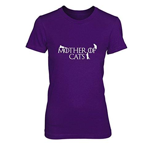 Mother of Cats - Damen T-Shirt, Größe: M, Farbe: lila