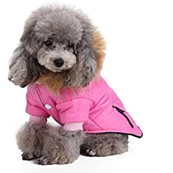 SMALLLEE_LUCKY_STORE XCW0046-pink-XS Pet Hoodie Coat Apparel Chihuahua Jacket Ski Clothes, Pink, X-Small