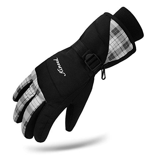 kineed Frauen Damen Ski Handschuhe wasserdicht Winter Ski Snow Warm Handschuhe, weiß