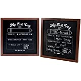 School Chalkboard Sign - First Day and Last Day of School Boards, School Boards for Kids, Double Sided for Back to School, Graduation, Classroom Supplies for Teacher, 12 x 12 Inches