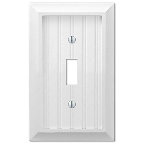 Cottage White Wood Single Toggle Wall Switch Plate Cover]()