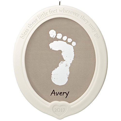 Hallmark Keepsake 2017 Little Feet, Big Blessing Baby's Footprint Porcelain Dated Christmas Ornament Kit
