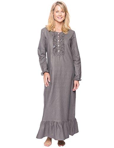 (Noble Mount Women's Premium Flannel Long Gown - Pindots Charcoal - X-Large)
