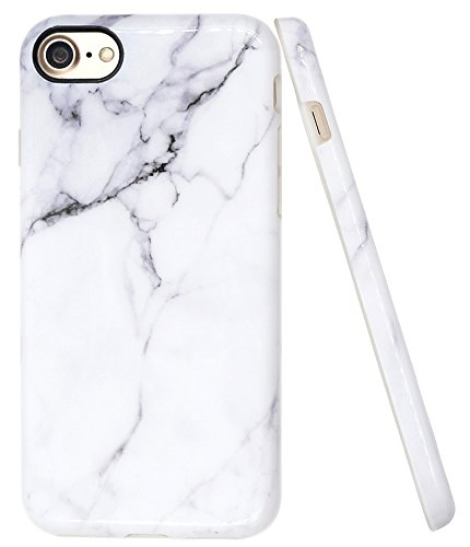 iPhone 7 White Marble Case, iPhone 8 Marble Case, A-Focus IMD Design Stone Pattern Texture Soft Flexible TPU Slim Fit Cover Case for iPhone 7 / iPhone 8 4.7 - Glossy Gray 2