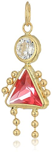 10K Gold AAA Cubic Zirconia Simulated Birthstone Babies Girl Charm, - Gold October Girl