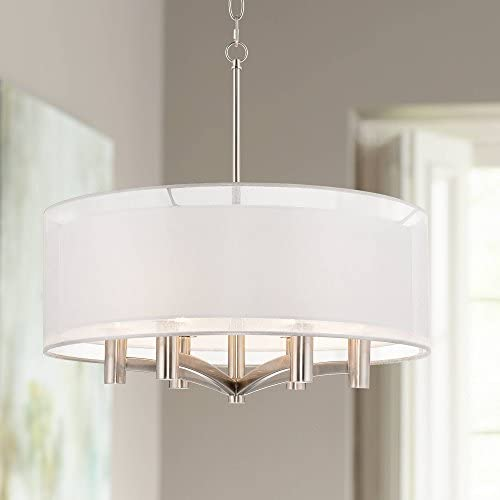 Caliari Brushed Nickel Pendant Chandelier 22″ Wide Modern Double Shade 6-Light Fixture
