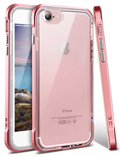 iPhone 8 Case, iPhone 7 Cover, Ansiwee Reinforced Frame Crystal Highly Durable Shock-Absorption Flexible Soft Rubber TPU Bumper Hybrid Protective Case for Apple iPhone 7 and iPhone 8 4.7 (Rose Gold)