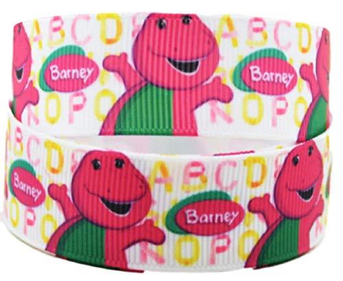 - Barney Cartoon Character 1 Inch Wide Repeat Ribbon (1 Yard)