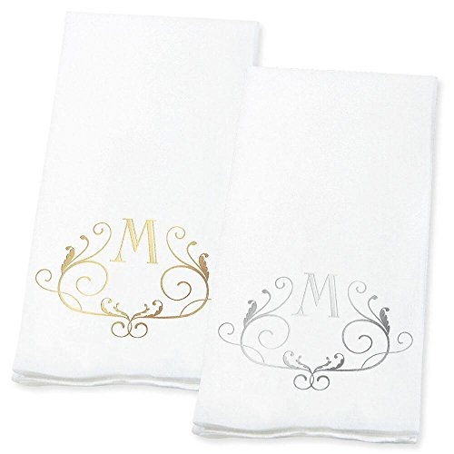 Lillian Vernon Scroll Personalized Monogram Line-Like Hand Towels (Set of 100)- 50% Cotton 50% Paper Blend, 13'' by 17'' Open and 4 1/2 by 8 1/2 Closed, Weddings, Anniversary, Dinner Party Supplies by Lillian Vernon