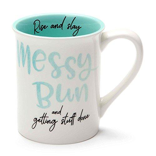Enesco 6001247 Our Name Is Mud Messy Bun Stoneware Mug 16 oz Teal