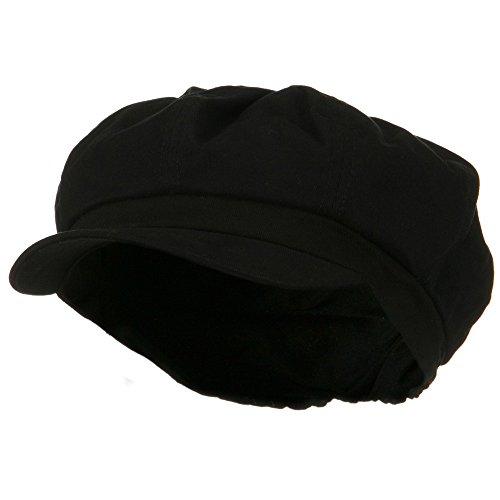 e4Hats.com Cotton Elastic Big Size Newsboy Cap - Black 2XL-3XL