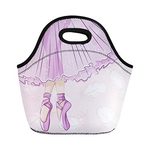 Semtomn Neoprene Lunch Tote Bag Beautiful Ballerina in Classical Tutu Slender Legs Ballet Slippers Reusable Cooler Bags Insulated Thermal Picnic Handbag for Travel,School,Outdoors, Work]()
