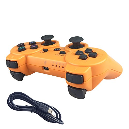 Nesada Wireless Bluetooth Controller For PS3 Double Shock - Bundled with USB charge cord (Orange)