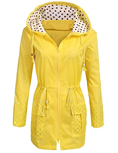 Unibelle Waterproof Lightweight Rain Jacket Active Outdoor Hooded Raincoat for Women, Yellow, XX-Large