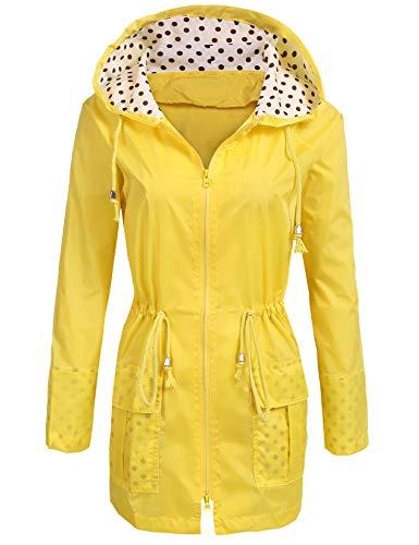 UNibelle Waterproof Lightweight Rain Jacket Active Outdoor Hooded Raincoat for Women, Yellow, -