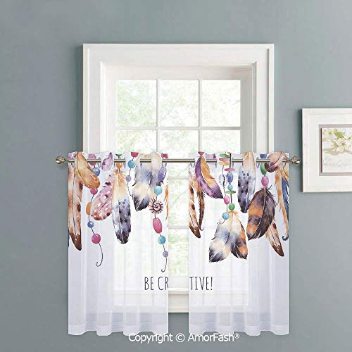 Kitchen Window Sheer Curtains -White Crushed Voile Draperies,Privacy Semi Sheer Curtains,W42 x L18-Inch,Pearls Decoration Be Creative Quote Watercolor Print Feathers and Beading Boho Style Home Decor