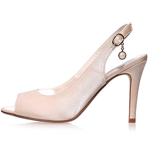 Sarahbridal Girls Wedding Pumps Heels Bridal Peep Toe Satin Shoes Prom Ball Party For Women Size SZXF5623-18 (4 UK - 7.5 UK) Silver K5kzH7iaiK