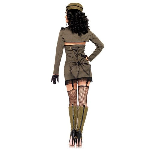 Leg Avenue Women's 5 Piece Pin Up Army Girl Costume, Khaki, -