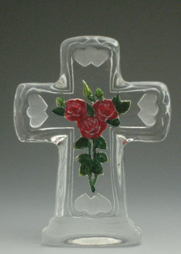 VG Engraved Lead Crystal - Cross Rose (color)
