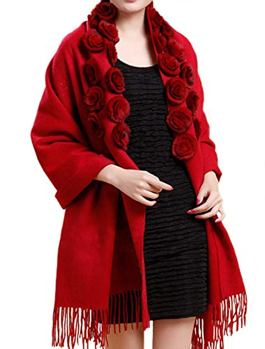 - MORCOE Women's Exotic Design 100% Wool Rabbit Fur Roses Soft Scarf Warm Wrap Evening Party Pashmina Shawl Gift (Red)