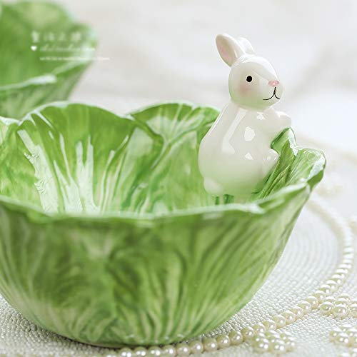 (DoubleW Cute Cartoon Green Cabbage with White Rabbit Shaped Ceramic Bowl, Creative Fruit Dish, Partysu Salad Bowl, Kid Rice Bowl, Child Soup Bowl)
