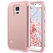 Galaxy S5 Case, S5 Case, ULAK Shock Resistant Hybrid Soft Silicone Hard PC Cover Case for Samsung Galaxy S5, [Will NOT Fit S5 Active] (Rose Gold)