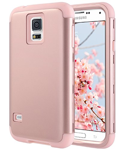 ULAK Galaxy S5 Case, S5 Case, Shock Resistant Hybrid Soft Silicone Hard PC Cover Case for Samsung Galaxy S5, Will NOT Fit S5 Active (Rose Gold)