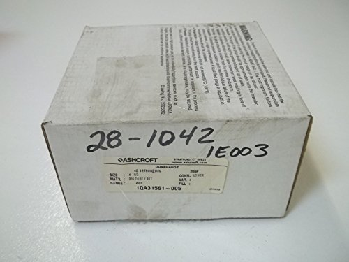 Ashcroft Duragauge Type 1279 Black Phenolic Case Glycerin Filled Pressure Gauge, 316 Stainless Steel Bourdon Tube and Tip, 316 Stainless Steel Socket, Solid Front Case, 4.5