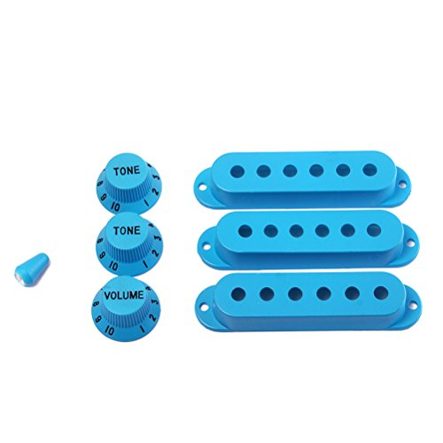 UKCOCO Strat Guitar Pickup Covers Knobs Switch Tip Set for Fender Stratocaster Replacement Accessory Kit Dark Blue
