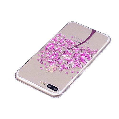 Coque iPhone 7 Plus / iPhone 8 Plus Arbre papillon Premium Gel TPU Souple Silicone Transparent Clair Bumper Protection Housse Arrière Étui Pour Apple iPhone 7 Plus / iPhone 8 Plus Avec Deux cadeau