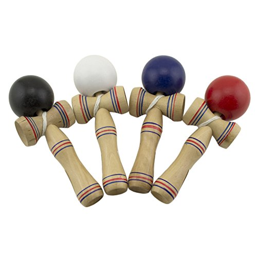 Adorox Wooden Kendama Japanese Wood Toy Ball String Striped Detail Catch Ball Game (Japanese Wooden Toy With Ball And String)