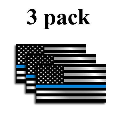 Fallen Sticker (PACK OF 3 Thin Blue Line and USA flag decal stickers American Flag Fallen Officer Cop Car Truck Blue Lives Matter)