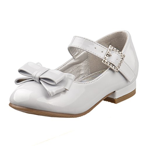 Josmo Girls Low Heel Dress Shoes with Rhinestone Buckle and Flower (Toddler, Little Kid) (11 M US Little Kid, White Patent)