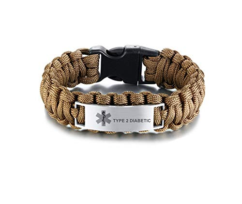 LiFashion LF Mens Stainless Steel Type 2 Diabetic Medical Alert Outdoor Brown Rope Paracord Survival Medical ID Bracelet Sos Emergency Cuff Bracelets for Adult Hiking Camping Hunting Activities (Type2 Diabetic Bracelet)