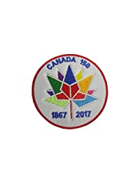 """CANADA 150 Years Anniversary 1867 - 2017 2 1/2"""" Inch Round Embroidered Iron on Patch Crest Badge... New"""